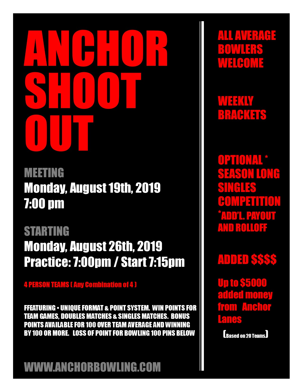 Sign up for the Anchor Shootout Today!  Organizational Meeting Monday, August 19th at 7:00pm